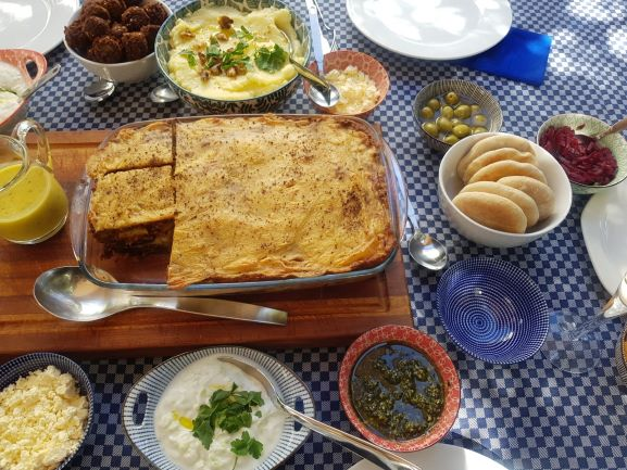 Our big fat Greek lunch with vegan moussaka!